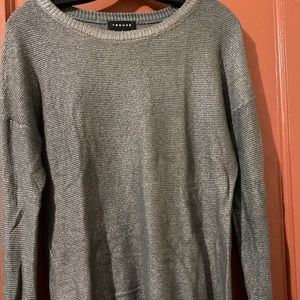 TROUVE Charcoal Gray golden shimmery sweater- S